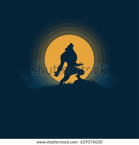 werewolf silhouette halloween