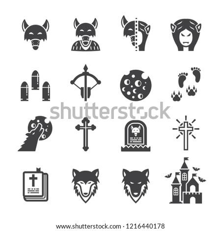 werewolves icon set flat icon