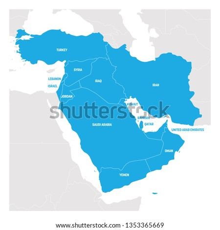 West Asia Region. Map of countries in western Asia or Middle East. Vector illustration.