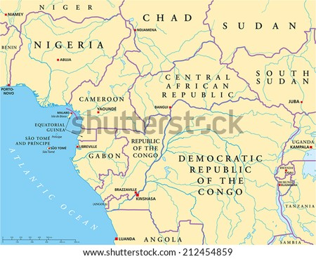 West Central Africa Political Map with capitals national borders rivers and lakes Illustration with English labeling and scaling