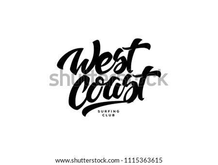 West coast black on white background is a vector illustration about surf and surfing