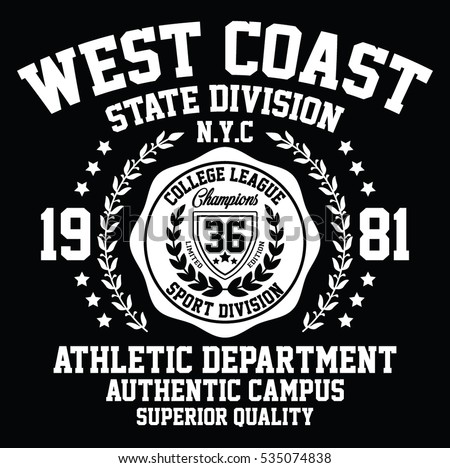 West coast state division sport, college league typography, t-shirt graphics, vectors