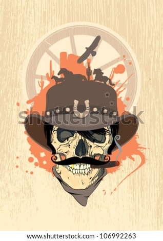 West design template with cowboy skull.