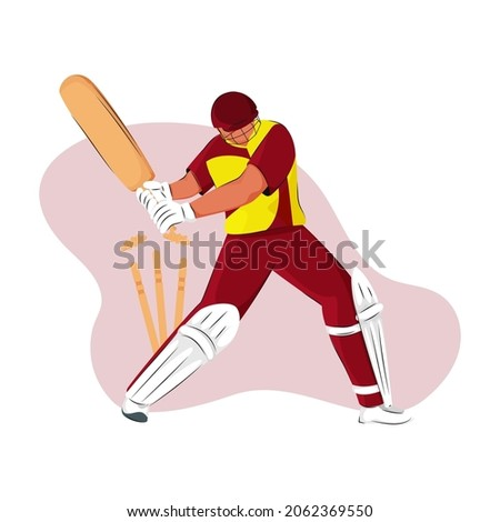 West Indies Cricket Batter Losing His Wicket On Abstract Background.