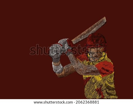 West Indies Cricket Batter Player With Line Pattern On Brown Background.