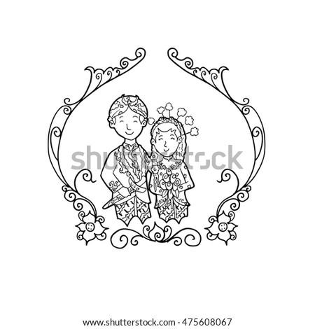 West Java Sundanese Couple Wedding Doodle Illustration