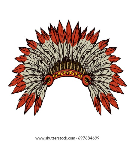 West navajo injun man chieftain adornment warbonnet on white background. rough festival bonnet. Bright color outline hand drawn picture logo sketchy in antique art doodle graphic style pen on paper