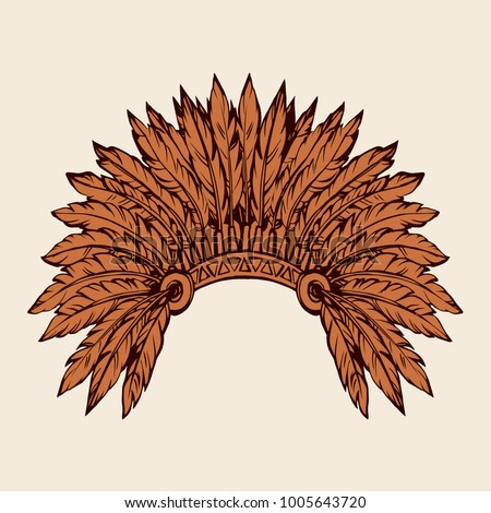 West navajo man chieftain adornment warbonnet on white background. rough festival bonnet. Freehand outline hand drawn picture logo sketchy in antique art doodle graphic style pen on paper