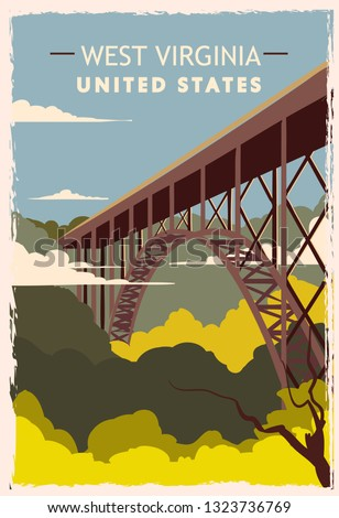 west virginia retro poster usa