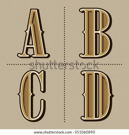 Western alphabet letters vintage design vector (a, b, c, d)