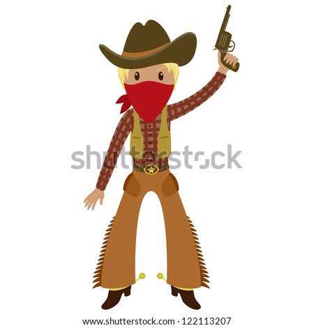 Western American cowboy with a gun . Cartoon illustration. Isolated on white