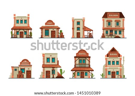 Western buildings. Wild west architectural constructions saloon vector collection. Western building saloon and bank, hotel and post illustration