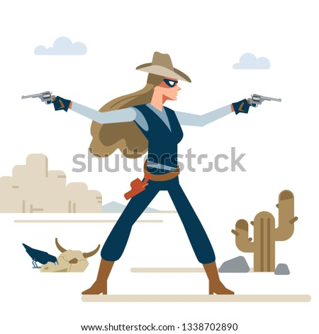 Western cowgirl with two revolvers in a shootout. Cartoon vector illustration. Flat style. Isolated on white background.