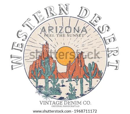 Western desert vector design for t-shirt. arizona desert vibes retro design.. denim clothing. Stockfoto ©