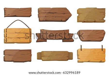 Western empty or blank sign boards or wooden planks. Old or vintage signs with nails. Banners for messages or pointers for path finding. Cartoon billboard or signpost, rustic notice or info banner.