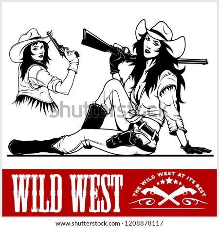 western girls with revolver and winchester
