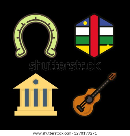 western icons set with central african republic, horseshoe and acoustic guitar vector set