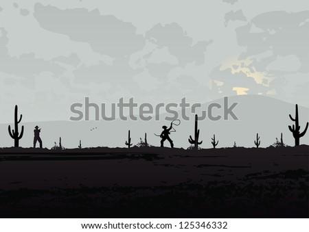 Western Landscape Silhouette Western Landscape With Cowboys