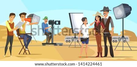 Western movie shooting flat illustration. Hollywood outdoor set scene. Cartoon actors,director, makeup artist, photographer characters. Background desert landscape. Modern filming, acting process