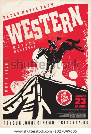 Western movies poster template with cowboy riding the horse in Arizona landscape. Wild west sunset vector illustration. Cinema flyer.