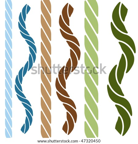 Western rope elements isolated on a white background.