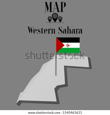 Western Sahara, or Sahrawi Arab Democratic Republic outline world map silhouette vector illustration, creative design background, national country flag, objects, element, symbols from countries set.