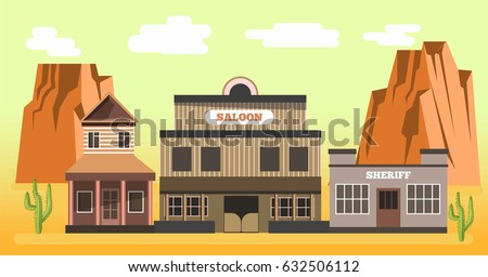 western saloon and sheriff in