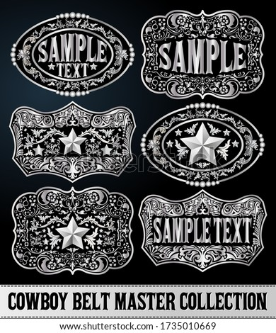 Western Style Cowboy Belt Buckle Label Master Collection Set. Stock photo ©