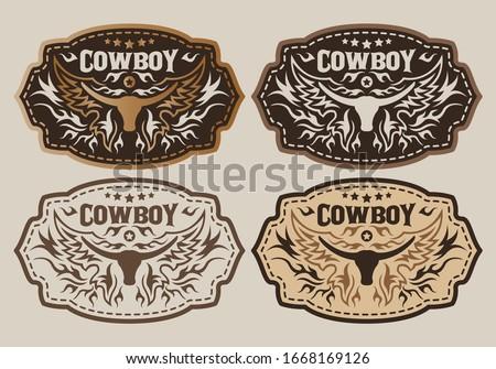Western Style Cowboy Bull Belt Buckle vector set design. Stock photo ©