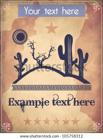 Western style poster with desert scene and text