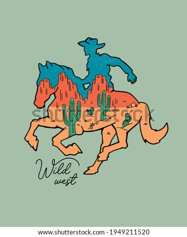 Western theme, a cowboy on  horse. Vector illustration for t-shirt prints, posters, and other uses. Stock fotó ©