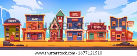 Western town with old wooden buildings. Wild west landscape for game gui. Vector cartoon illustration of wild west city street with catholic church, saloon, sheriff office, bank, hotel and store ストックフォト ©