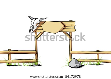 stock-vector-western-vector-background-wooden-fence-with-a-cow-skull ...