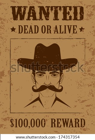western vector poster  wanted