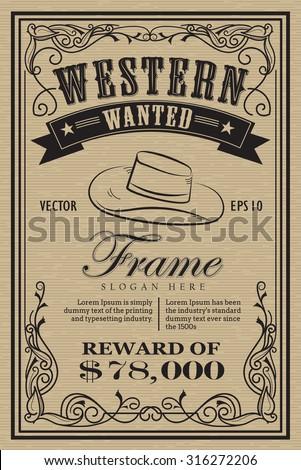 western vintage frame label