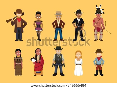 western wild west cute cartoon