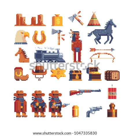 Western wild west pixel art icon. Design for mobile app, web, logo. Sheriff character, canyon and locomotive, cowboy, horseshoe, gun, star, boot and chest. Isolated vector illustration. Game assets.