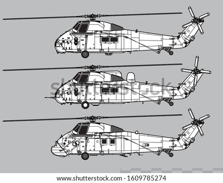 westland wessex vector drawing