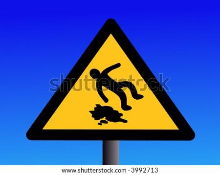 wet and slippery floor sign on blue illustration