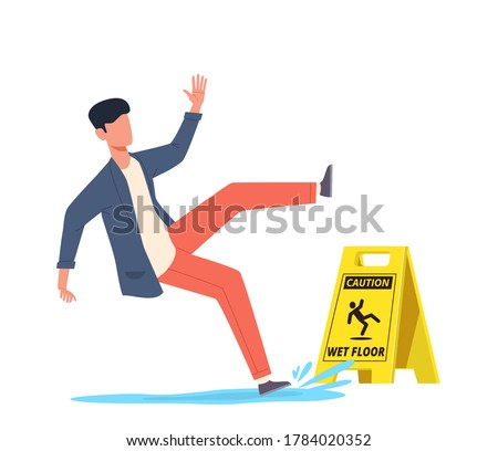 Wet floor. Falling man slips in water, slipping and downfall, injured unbalanced character, personal injury, dangerous dropping, caution danger yellow sign cartoon vector concept Stockfoto ©
