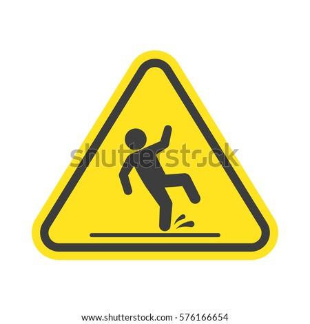 wet floor warning vector sign