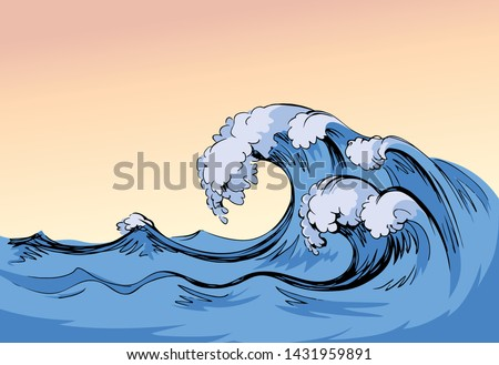 wet fresh spume curly breeze