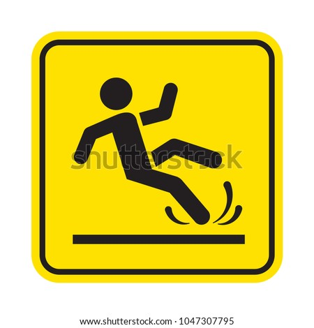 Wet or slippery floor. Man falling. Vector sign.