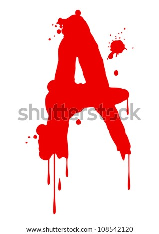 Wet paint font type, letter A