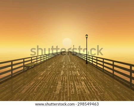 wet pier on the sea at sunset