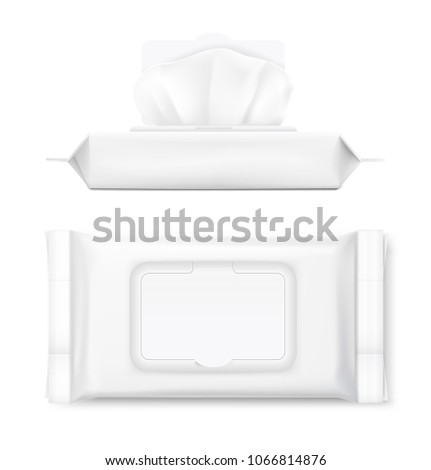 Wet wipe flow packs with realistic transparent shadows white background. Vector ready template for your design. EPS10.