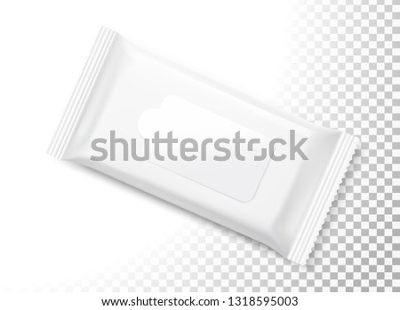 Wet wipes flow pack with realistic transparent shadows on white background. Taking your 2D designs into 3D. Can be use for medicine, food, cosmetic and other. EPS10. EPS10.