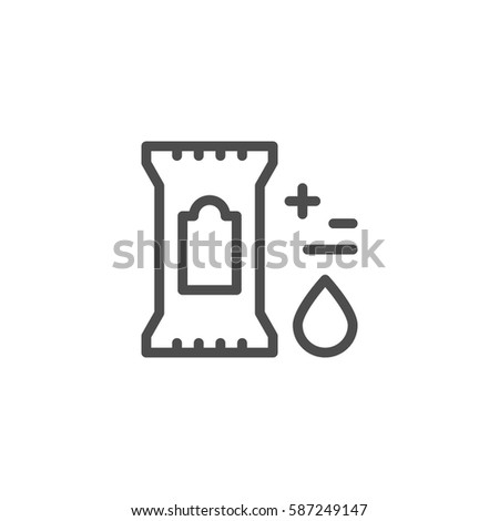 Wet wipes line icon isolated on white. Vector illustration