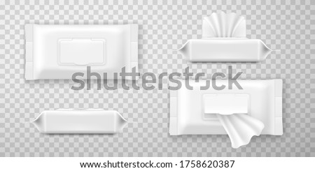 Wet wipes or towel white packaging with open and closed flap realistic mockups. Front, side view. Moist towelette sachet, packing wet wipes templates for your design isolated on transparent.