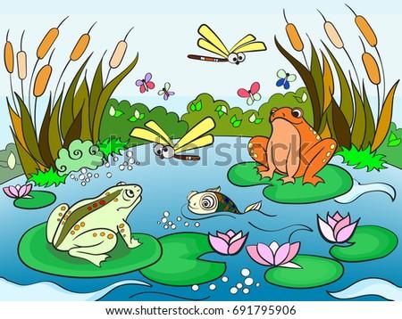 wetland landscape with animals